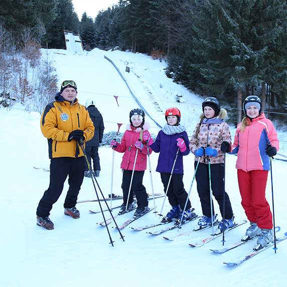 Катання на лижах в Ворохті у Карпатах